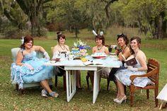 Alice in Wonderland wedding with bridesmaid tea party.