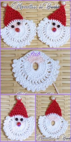 Crochet Santa Face Applique Free Patterns Crochet Santa Face Applique Free Patterns Always aspired to learn how to knit, yet not sure the place to begin? Crochet Ornament Patterns, Crochet Applique Patterns Free, Crochet Ornaments, Crochet Snowflakes, Crochet Motif, Free Crochet, Knitting Patterns, Free Pattern, Santa Ornaments