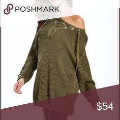 Lace tie front sweater ONE HOUR SALE Olive green loose fit lace up tie front sweaterPLEASE Use the Poshmark new option you can purchase and it will give you the option to pick the size you want ( all sizes are available) BUNDLE and save 10% ( no trades price is firm unless bundled) Sweaters