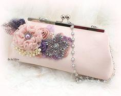 Purse Blush Rose Lilac Purple Bridal Elegant Wedding by SolBijou Unusual Wedding Gifts, Blush Roses, Elegant Wedding, Lilac, Brooch, Purses, Pearls, Bridal, Crystals