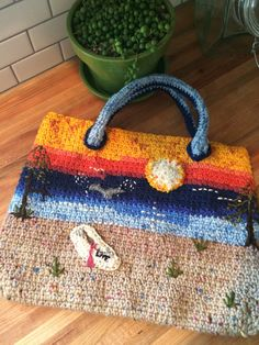 Hand Crocheted Tote Bag, Market Bag, Knitting Bag with Crocheted Rope Handles, Boho Bag or Craft Tote, Everyday handbag or purse Handmade Purses, Handmade Clothes, Handmade Accessories, Handmade Gifts, Handmade Items, Crochet Tote, Crochet Handbags, Hand Crochet, Craft Bags