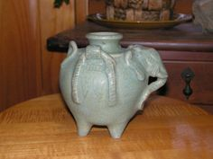 Vintage Ceramic Pottery Elephant Vase made in Thailand