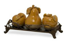 IMAX Home 50101-4 Italia Fruits with Tray - Set of 4 Home Decor Accents Statues & Figurines