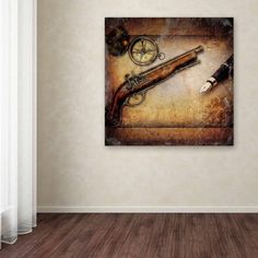 Trademark Fine Art Compass and Guns Canvas Art by Erik Brede, Size: 14 x 14, Multicolor