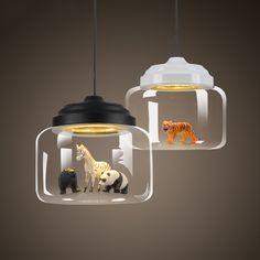 Nordic glass Pendant light restaurant bar cafe creative animal models decorative suspension lamp dining room child room lighting
