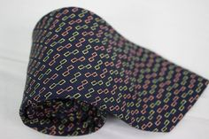 Brooks Brothers Tie 100% Silk Navy Blue Yellow Orange Chain Link Geometric #BrooksBrothers #NeckTie