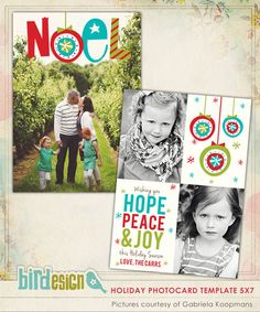 Holiday Photocard Template   Noel    $8.00