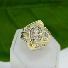 Yellow Gold Genuine 1.50ct TDW Diamond Cluster Cocktail Ring – MoneyMan Pawn