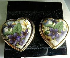 VINTAGE Signed EDGAR BEREBI Gorgeous HEART SHAPED with VIOLETS Clip-on EARRINGS | eBay
