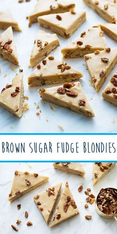 Brown sugar fudge blondies are the ultimate Christmas cookie hybrid! Try now from Livelymess. Brown Sugar Fudge, Buttery Cookies, Best Christmas Cookies, Holiday Baking, Blondies, Creme, Sweet, Desserts, Recipes