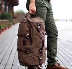 New Men's Vintage Novelty Brown Canvas Duffel Backpack Camping Gym Shoulder Bag