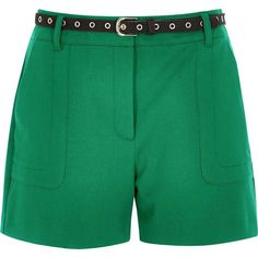 River Island Green high waisted shorts ($64) ❤ liked on Polyvore featuring shorts, green, high waisted shorts, women, highwaist shorts, high-waisted shorts, river island, high-rise shorts and woven shorts