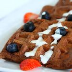 Chocolate Waffles - who wouldn't love these?  Use 1 1/2 cups milk substitute. 1 3/4 cups makes batter awfully thin.Mix 1/2 whole wheat pastry flour with 1/2 white flour, 1/2 healthy sweetner with 1/2 sugar.