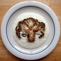 cauliflower 'steak' with cauli puree