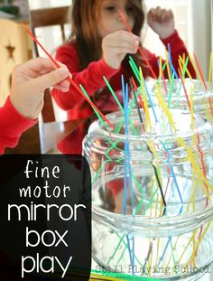 Still Playing School: Fine Motor Mirror Play Fine Motor Activities For Kids, Motor Skills Activities, Gross Motor Skills, Preschool Activities, Diy Sensory Toys, Sensory Boxes, Sensory Play, Montessori, Babysitting Fun