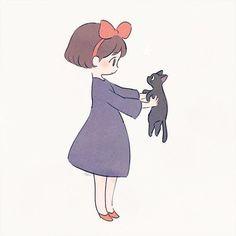 Kiki & Jiji from Kiki's Delivery Service Studio Ghibli Films, Art Studio Ghibli, Anime Chibi, Art Anime, Kawaii Drawings, Cute Drawings, Totoro, Art Kawaii, Art Mignon