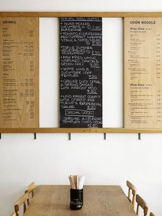 Floating hooks for coats and the such! oya Japanese Udon Noodle Bar in Soho, London | Remodelista