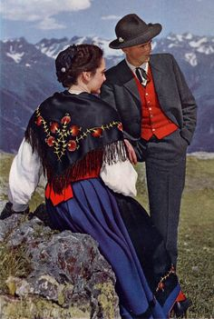 Europe | Portrait of a couple wearing traditional clothes, Rhaetia, Switzerland