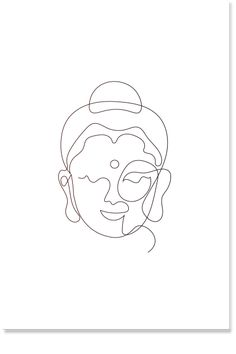 The Line of Buddha - Line Art, Minimal Buddha Wall Art