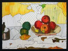 Prismacolor Marker & Colored Pencil  Line as Value-Grade 7