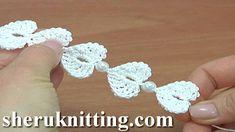 How to Make Crochet Cord with Heards Tutorial 175 haak harten - Knitting Bandeau Crochet, Crochet Cord, Treble Crochet Stitch, Crochet Bracelet, Crochet Stitches, Crochet Baby, Crochet Earrings, Crochet Patterns, Ribbon Flower Tutorial