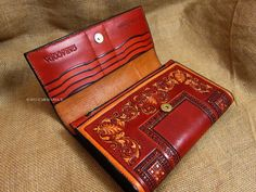 Leather clutch antique vintage style tooled baroque by CARACODA