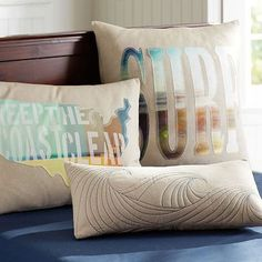 "Surfer Dude Pillow Cover #potterybarnteen - I can DIY a similar ""SURF"" pillow for the nursery chair"