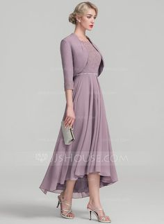 A-Line/Princess Scoop Neck Asymmetrical Beading Zipper Up Sleeves 1/2 Sleeves Yes Dusk General Plus Chiffon Lace Height:5.7ft Bust:33in Waist:24in Hips:34in US 2 / UK 6 / EU 32 Mother of the Bride Dress