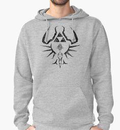 """Zelda Trigram Shield - Black Edition"" Pullover Hoodies by Lidra   Redbubble"