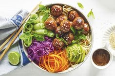 For nights when you are short on time, whip up this wholesome bowl of goodness in just 25 minutes! Asian Meatballs, Pork Meatballs, Honey Soy Stir Fry, Diet Recipes, Cooking Recipes, Yummy Recipes, Cooking Tips, Asian Recipes, Ethnic Recipes