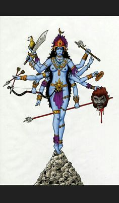 Hindu Godess Kali/Durga, holding the head of demon Mahishasura in one of her ten arms. Drawn with Pens, markers and coloured pencils. Kali by ~turboweevel Kali Goddess, Mother Goddess, Indian Illustration, Illustration Sketches, Durga Ji, Kali Mata, Hindu Deities, Hinduism, Devian Art