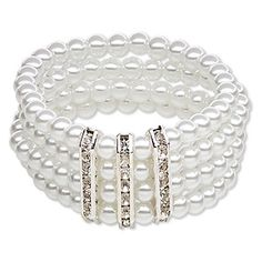 """Bracelet, stretch, acrylic / Chinese glass rhinestone / silver-finished """"pewter"""" (zinc-based alloy), white and clear, 6mm round, 7 inches. Sold individually."""