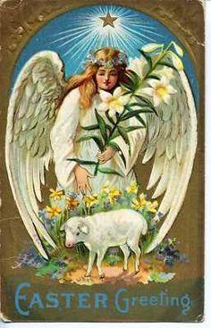Easter Angel Vintage Postcard