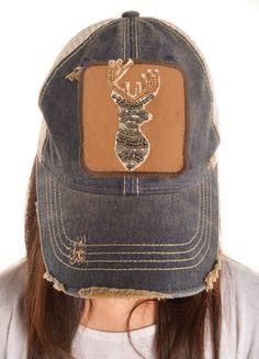 Beaded Deer Head Hat (navy) Judith March f308d3224b55