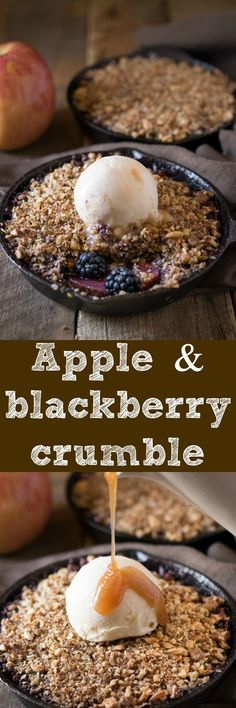 Apple and blackberry crumble is so 'Fall-like', from the seasonal fruit to the spices and it's all topped off with vanilla ice cream and homemade apple spiced caramel sauce.