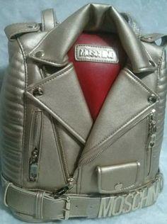 Moschino Biker Jacket's Women Backpack Gold -  moschinooutlet2015.com