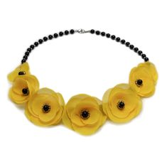 YELLOW CANDY | Colier statement elegant Textile, Yellow Candy, Floral Necklace, Handmade Jewelry, Necklaces, Elegant, Fashion, Manualidades, Classy