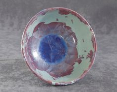 Pink on Light Blue Bowl Crystalline Ceramics Pottery by Moonlit Method Greg and Pamela Beckman