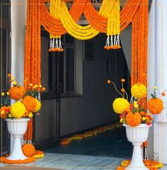 Marigold floral Entrance by The Floral Pursuit-Delhi. Ganpati Decoration Design, Mandir Decoration, Ganapati Decoration, Diwali Decorations At Home, Marriage Decoration, Wedding Stage Decorations, Hall Decorations, Home Flower Decor, Ganesh Chaturthi Decoration