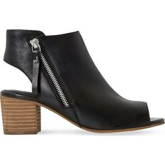 DUNE Joselyn peep-toe leather ankle boots (116,825 KRW) ❤ liked on Polyvore featuring shoes, boots, ankle booties, ankle boots, cut-out ankle boots, side zip boots, peep toe ankle booties and leather boots