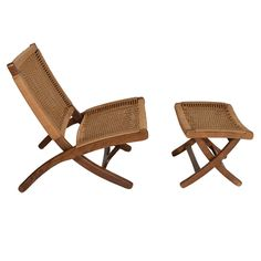 Hans Wegner style Wood and Woven Rope Chair and Ottoman | From a unique collection of antique and modern lounge chairs at http://www.1stdibs.com/furniture/seating/lounge-chairs/