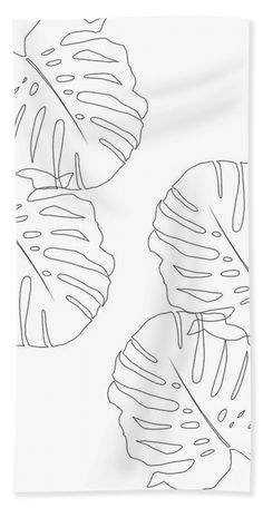 Monstera Leaves Finesse Line Art Towel (Beach Towel x by Anitas and Bellas Art. Our towels are great. Flower Art Drawing, Leaf Drawing, Drawing Hair, Gesture Drawing, Drawing Faces, Line Art Flowers, Outline Art, Abstract Line Art, Diy Canvas Art