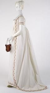 The popularity of the high-waisted regency gown is due to both to French influence in fashion and the Neoclassical rage that swept Europe during the 18th Century. Marie Antoinette is said to have inspired the round gown of the 1790′s, which is essentially a dress and robe joined together and tied in the front (view a rotating video of an early example at the V&A Museum). Later, Josephine Bonaparte who reigned supreme in her position as a fashion icon, influenced the slim, high-waisted…