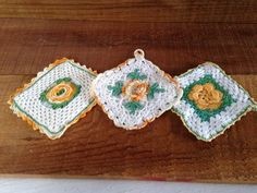 3 1950's Two Ply Pot Holders  Yellow Green & by EightBoardsFarm, $15.00