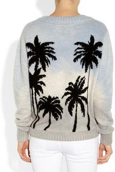 The Elder Statesman|Palm tree-intarsia felted-cashmere sweater