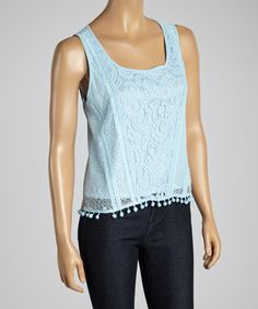 Look what I found on #zulily! Dani Collection Blue Lace Fringe Tank by Dani Collection #zulilyfinds