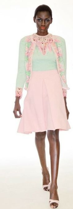 Zac Posen pink and green mini dress w/ cardigan