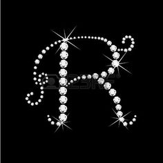 R Letter with diamonds bling stars  photo