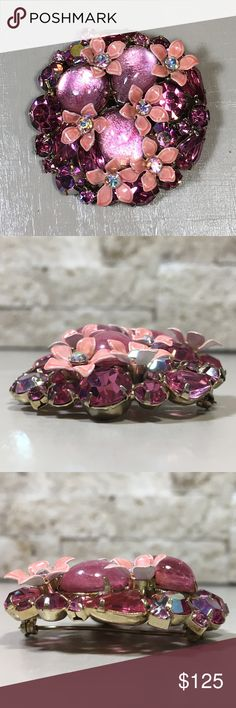 "Vintage Pink Rhinestone Enamel Flower Brooch Beautiful pink brooch, enameled flowers, rhinestones with an aurora borealis finish, gold tone pin. Great vintage condition, please see photos. Measures approximately 2"" in diameter. Vintage Jewelry Brooches"