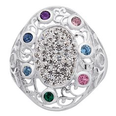 Buy Midnight Sonata Sterling Silver Crystal Family Oval Birthstone Ring at Limoges